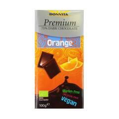 Czekolada gorzka Premium z kawałkami pomarańczy 71% BIO 100 g BONVITA