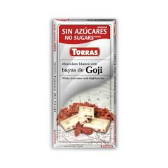 Czekolada biała z Jagodami Goji bez cukru 75 g Torras