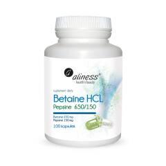 Betaina HCL 650ml Pepsine 150ml 100 kapsułek Aliness