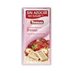 Czekolada biała z truskawkami bez cukru 80 g Torras